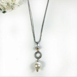 Chico's Luna Tassel Necklace Pearl Drop Rhinestone